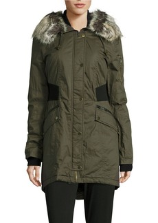FRENCH CONNECTION Faux Fur-Trimmed Bomber Parka