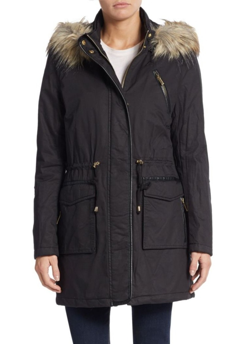 French Connection Faux Fur-Trimmed Hooded Parka