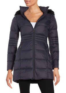 FRENCH CONNECTION Faux Fur-Trimmed Hooded Puffer Coat