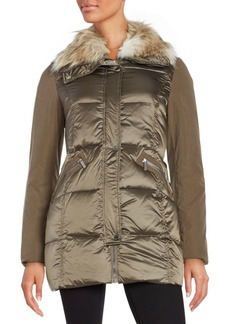 French Connection Faux Fur-Trimmed Puffer Coat