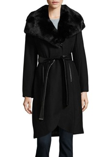 French Connection Faux Fur-Trimmed Trench Coat