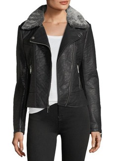 French Connection Faux-Leather Jacket w/ Faux-Fur Trim