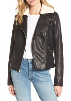 French Connection Faux Leather Moto Jacket with Faux Shearling