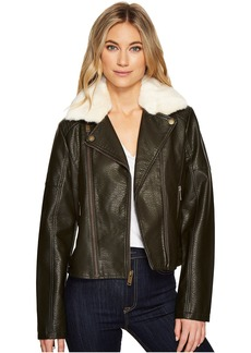 French Connection Faux Leather Moto Jacket with Shearling Collar
