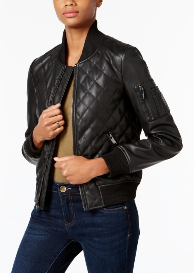 French Connection Faux-Leather Quilted Moto Jacket