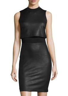 French Connection Faux-Leather Sleeveless Popover Dress