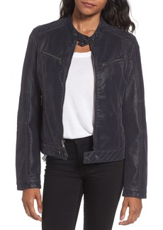 French Connection Faux Leather Zip Front Jacket