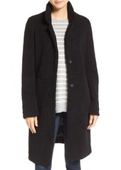 French Connection Faux Persian Lamb Fur Long Reefer Coat