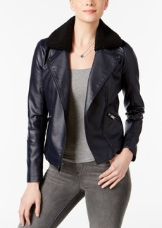 French Connection Faux-Shearling-Collar Moto Jacket, Created for Macy's