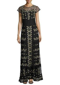 French Connection Floral-Embroidered Short-Sleeve Maxi Dress