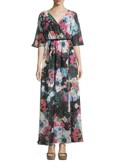 French Connection Floral-Print 3/4-Sleeve Maxi Dress