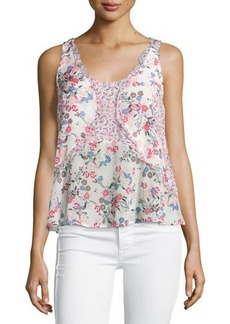 French Connection Floral-Print Georgette Tank W/Ruffles