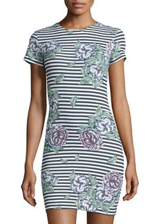 French Connection Floral Striped Short-Sleeve Sheath Dress