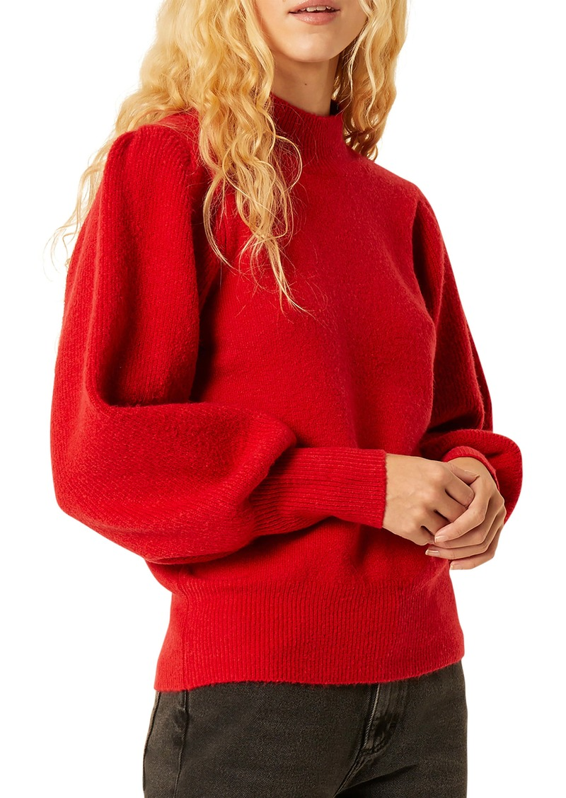 French Connection Flossy Balloon Sleeve Mock Neck Sweater
