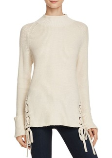 FRENCH CONNECTION Freedom Fringe Knits Lace-Up Sweater