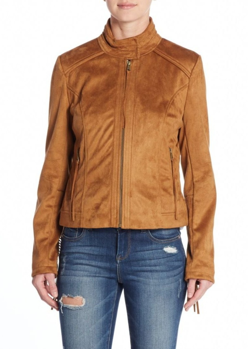 French Connection Fringe Faux Suede Jacket