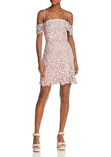 FRENCH CONNECTION Fulaga Floral Lace Cold-Shoulder Dress, Summer White/Teagown