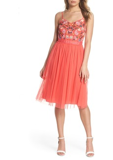 French Connection Genoa Embroidered Bodice Tulle Dress