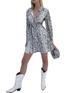 French Connection Graziana Snakeskin Print Long Sleeve Shirtdress