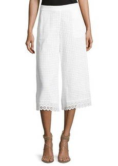French Connection Holiday Lace Flared Cropped Trousers