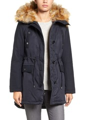French Connection Hooded Parka with Faux Fur Trim