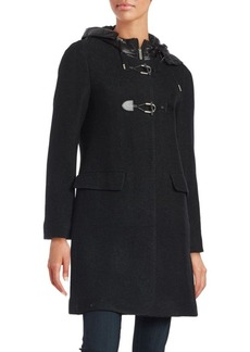 French Connection Hooded Wool-Blend Toggle Coat