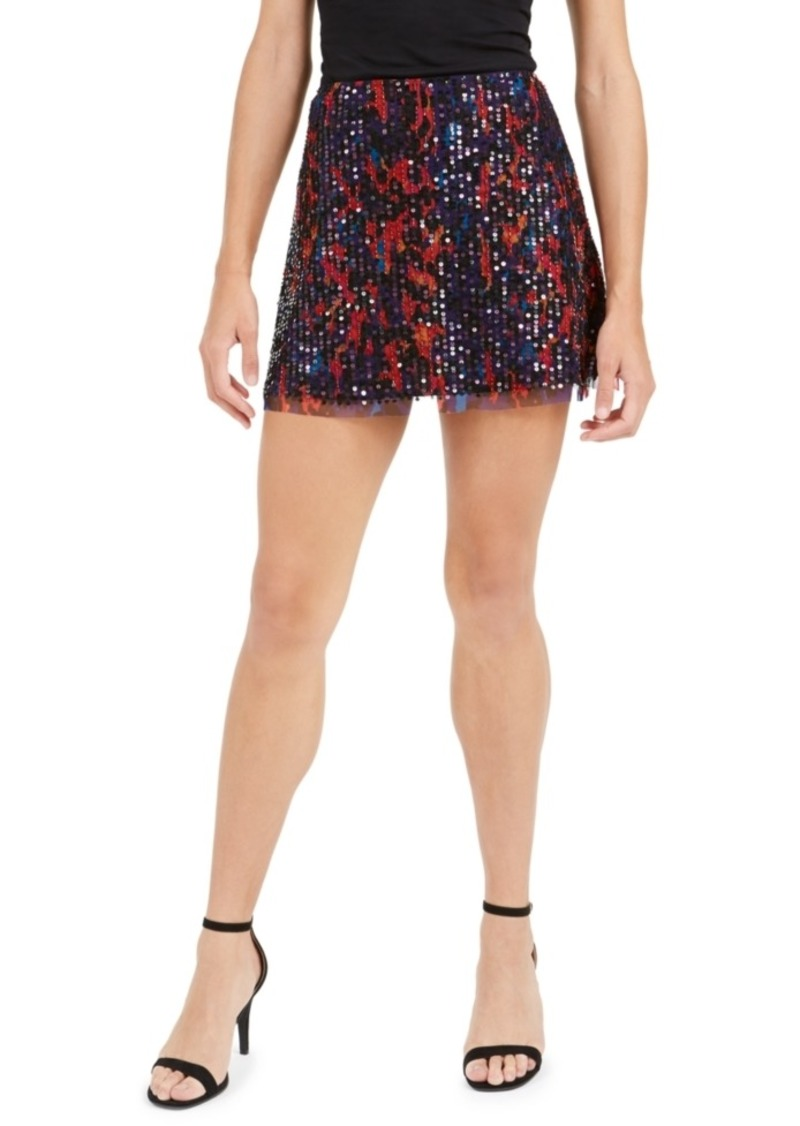 French Connection Inari Embellished Leopard-Print Mini Skirt