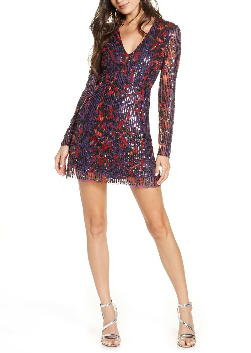 French Connection Inari Long Sleeve Sequin Cocktail Dress