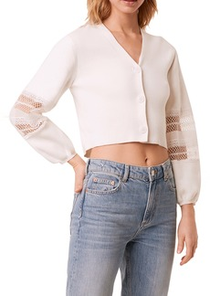 French Connection Kaya Lace Mix Crop Cardigan
