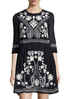 French Connection Kiko Embroidered Fit & Flare Dress