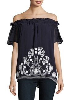 French Connection Kiko Stitch Off-The-Shoulder Top