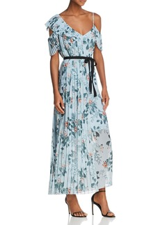 FRENCH CONNECTION Kioa Asymmetric Pleated Floral Print Maxi Dress
