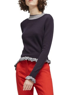 French Connection Knit Ruffle Trim Sweater