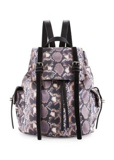 French Connection Kyle Snake-Print Flap Backpack
