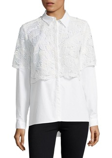 Lace Cotton Button-Down Shirt