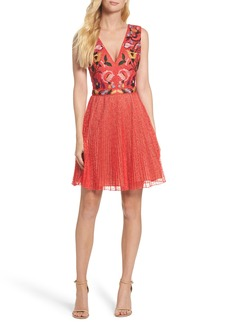 French Connection Lace Fit & Flare Dress