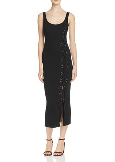 FRENCH CONNECTION Lace Up Ribbed Midi Dress