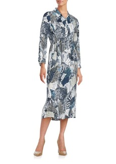French Connection Lala Palm Leaf-Print Shirtdress