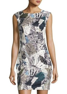 French Connection Lala Palm-Print Sheath Dress