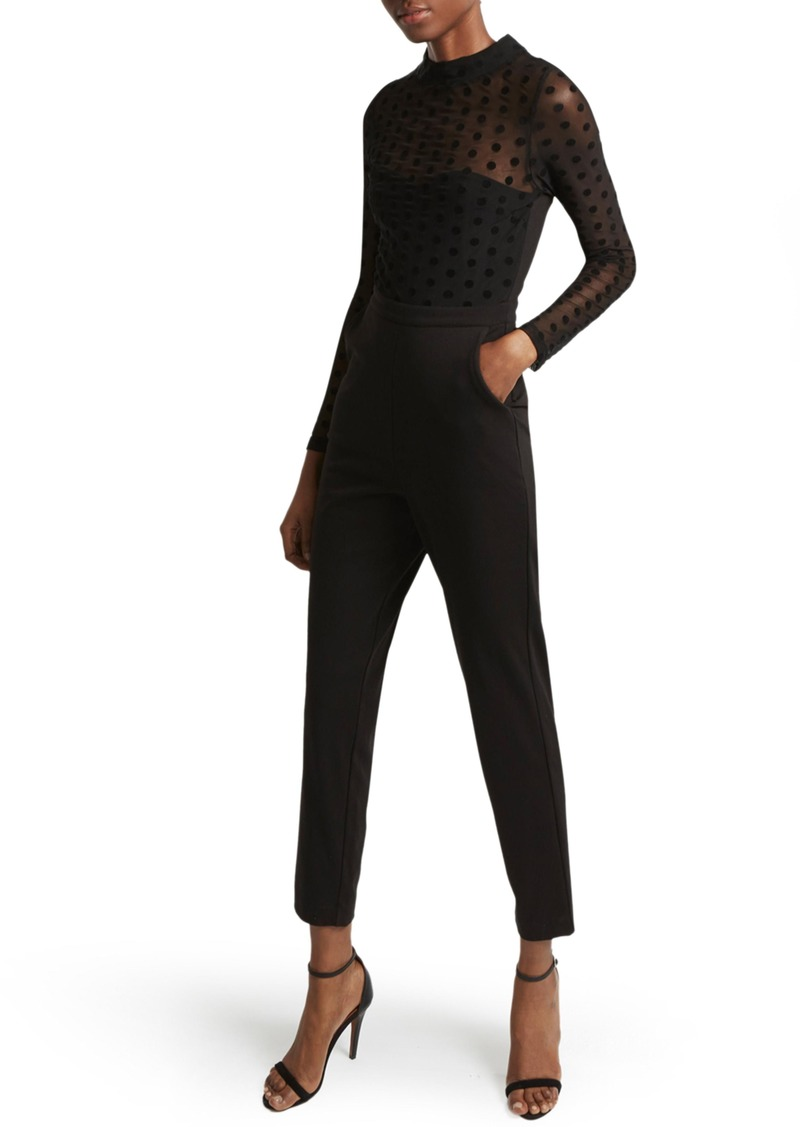 French Connection Leah Mesh & Jersey Jumpsuit