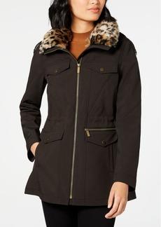 French Connection Leopard-Print Faux-Fur-Trim Hooded Raincoat