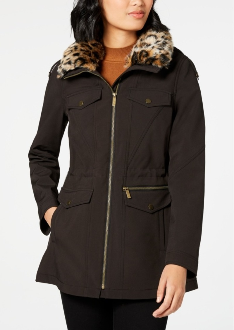 French Connection Leopard-Print Faux-Fur-Trim Hooded Raincoat