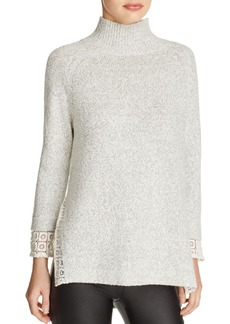 FRENCH CONNECTION Lola Lace Trim Mock Neck Sweater