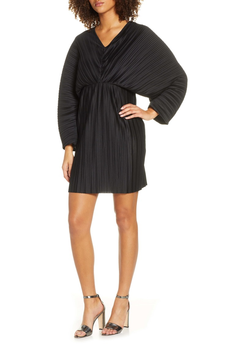 French Connection Long Sleeve Crinkle Pleat Cocktail Dress