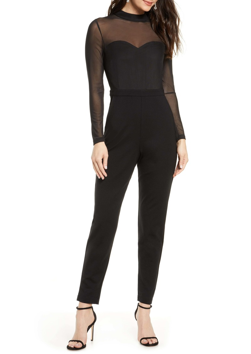 French Connection Long Sleeve Mesh & Jersey Jumpsuit