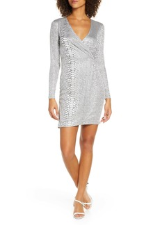 French Connection Long Sleeve Snake Jacquard Dress