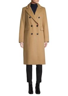 French Connection Long Wool-Blend Button Coat