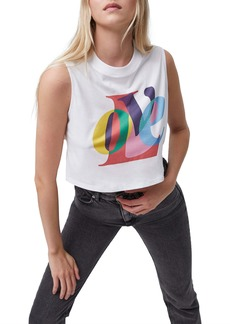 French Connection Love Crop Graphic Tank