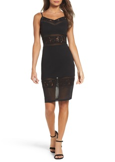 French Connection Lucky Layer Embroidered Mesh Sheath Dress