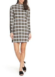 French Connection Lula Plaid Mix Media Shift Dress